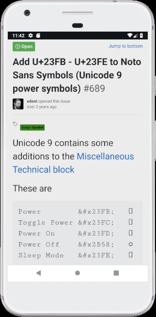 GitHub issue - the power symbols show as blank boxes.