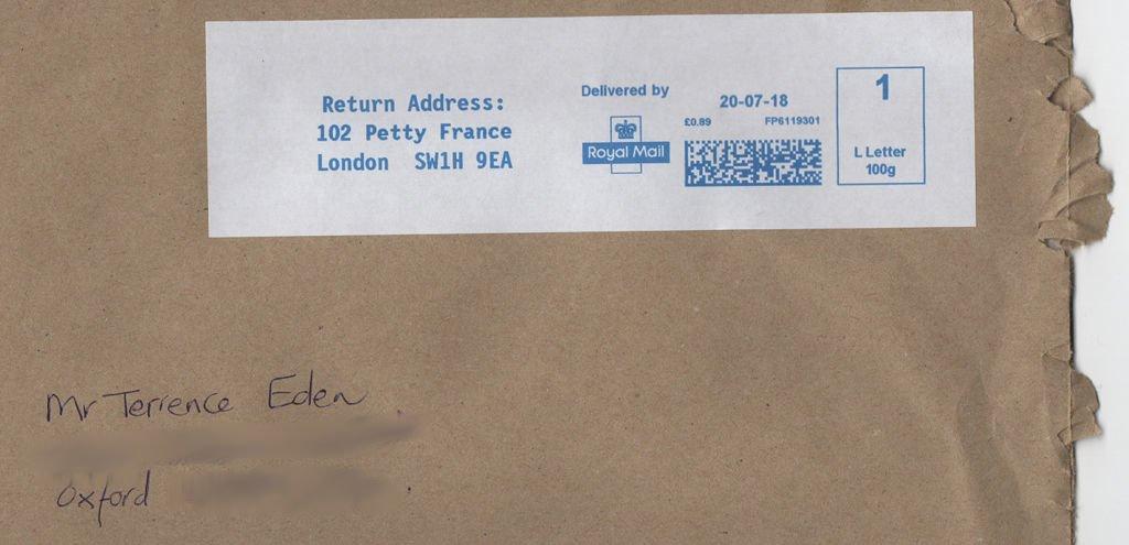 A handwritten envelope.