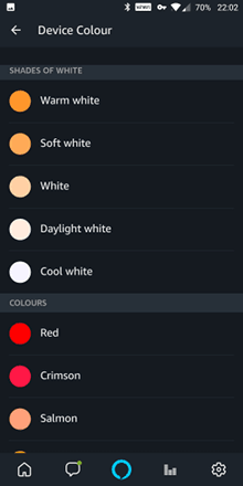 Alexa app showing colour and light values.
