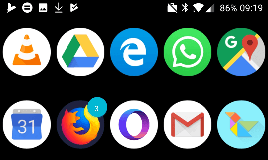Each icon is constrained in a circle.