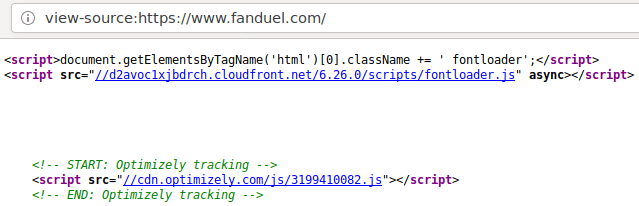 HTML source for FanDuel.