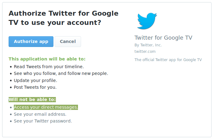 A Twitter login screen. Highlighted is the information that it cannot access your DMs.