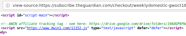 HTML source of the Guardian's website.