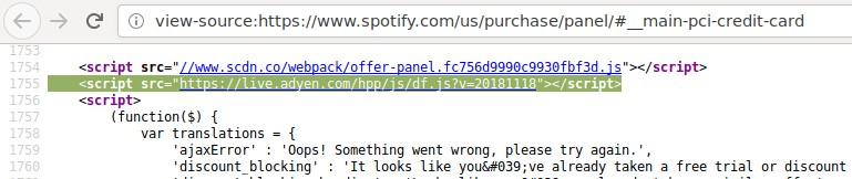 HTML code from Spotify.