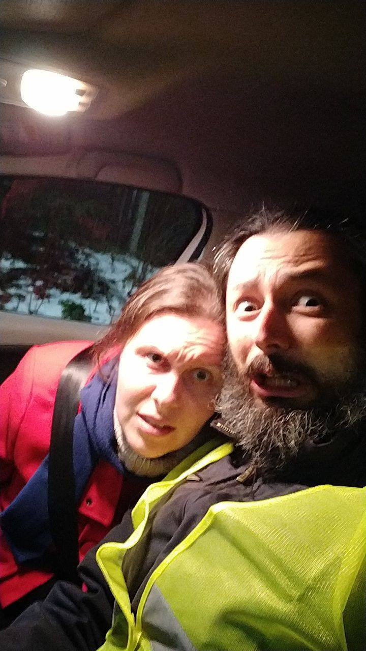 Two cold people trapped in a car.