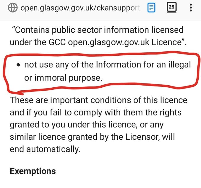 The Glasgow Open Government Licence. Highlighted is a passage saying the data cannot be used for illegal or immoral purposes.