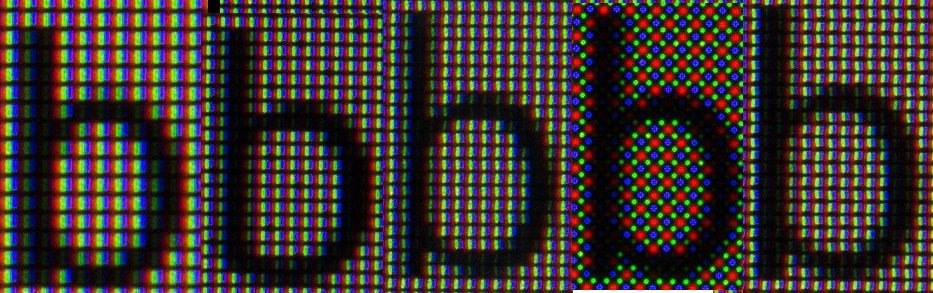 The letter B rendered on several screens, intensly magnified.