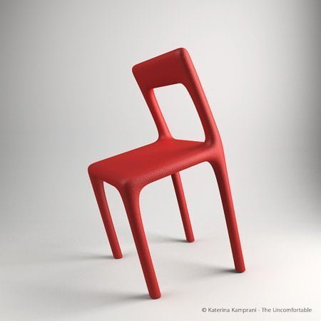 A chair specifically designed to but awkward - it has a bowed seat and leans forward at an uncomfortable angle.