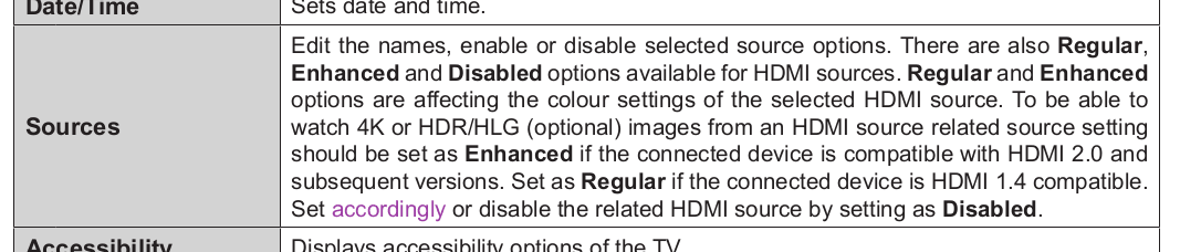 Regular and Enhanced options are affecting the colour settings of the selected HDMI source. To be able to watch 4K or HDR/HLG (optional) images from an HDMI source related source setting should be set as Enhanced if the connected device is compatible with HDMI 2.0 and subsequent versions.