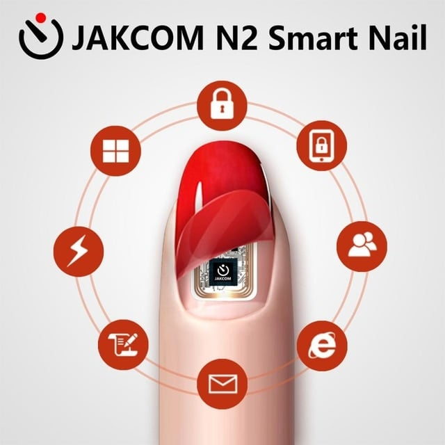 A red painted nail with a circuit inside it.