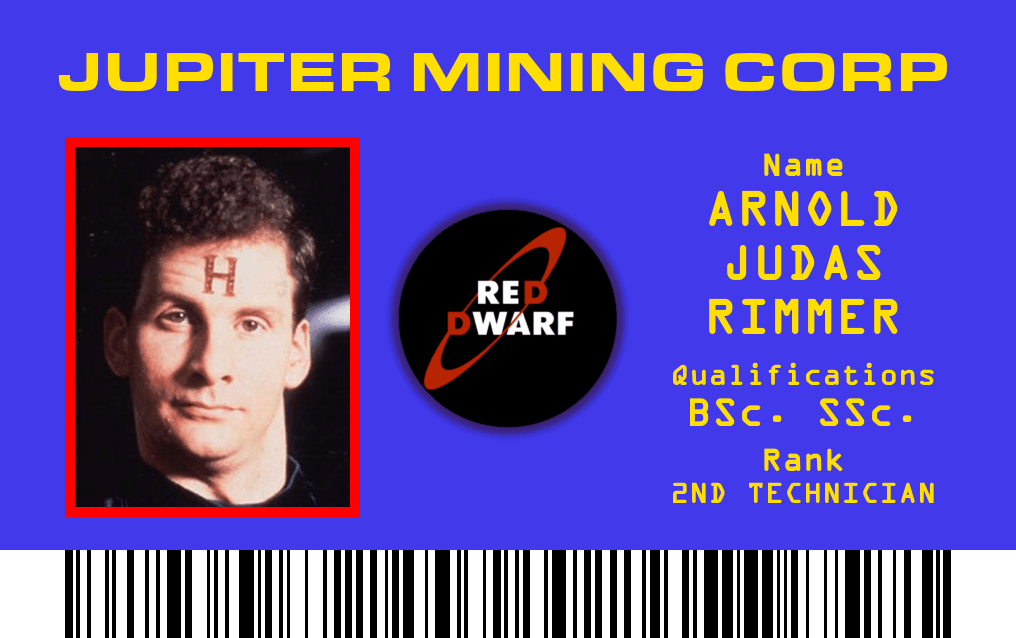An ID card with Rimmer's face.