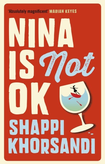 Book cover for Nina is Not OK. A girl is trapped in a glass of wine - is she waving or drowning?