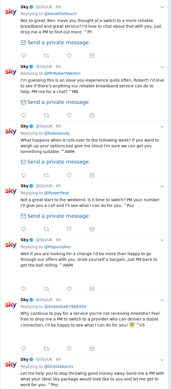 Dozens of Tweets from Sky, pleading for customers.