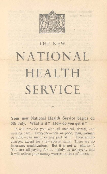 Yellowing and decaying leaflet talking about the new National Health Service.