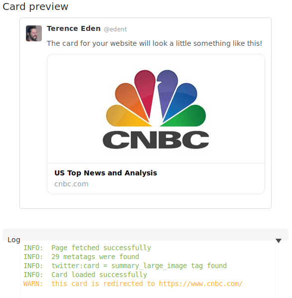 "Card validator showing the CNBC logo. At the bottom it says  ""WARN: this card is redirected to cnbc.com."""