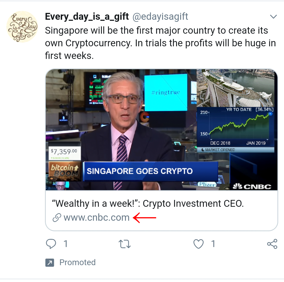 A spam advert on Twitter. The CNBC website is highlighted at the bottom.