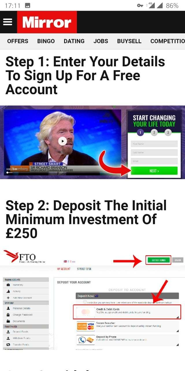 Picture of Richard Branson, encouraging people to deposit £250.