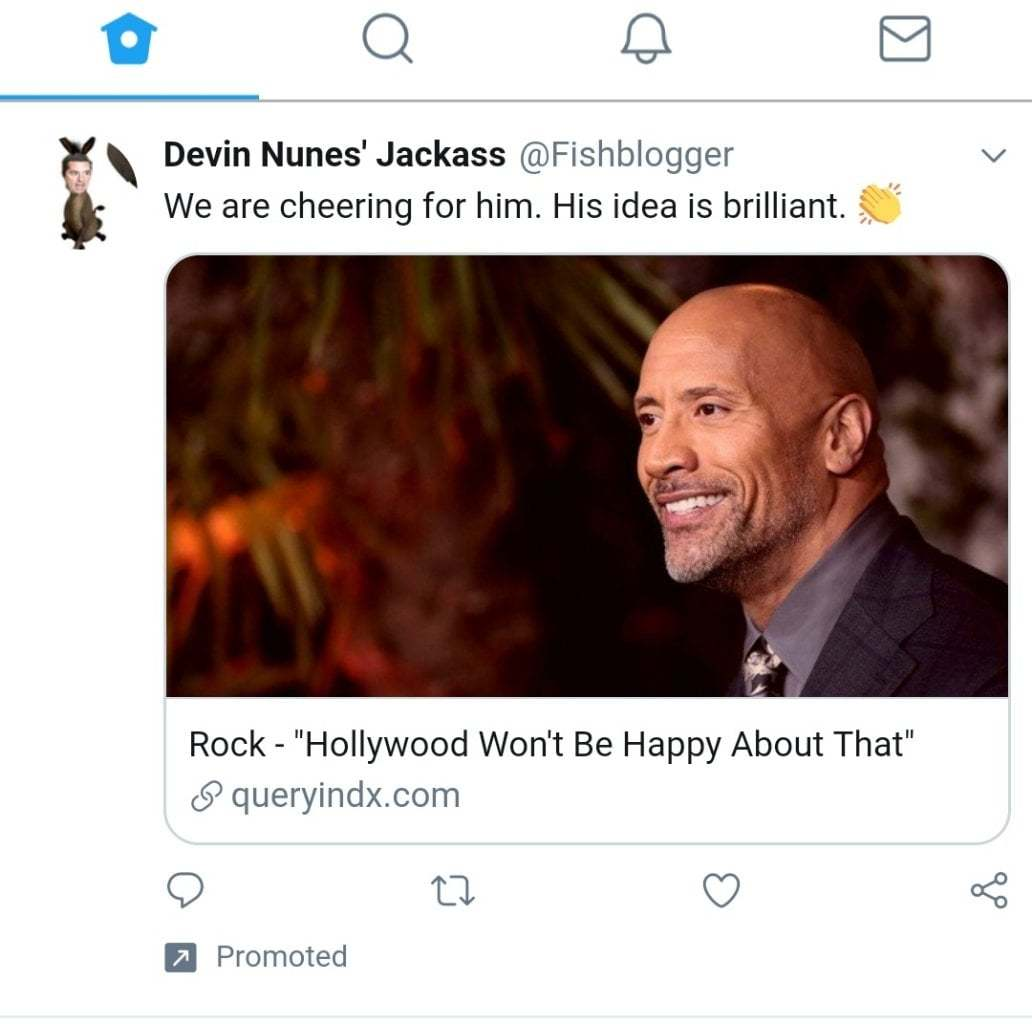 Twitter advert saying The Rock has done something scandalous.
