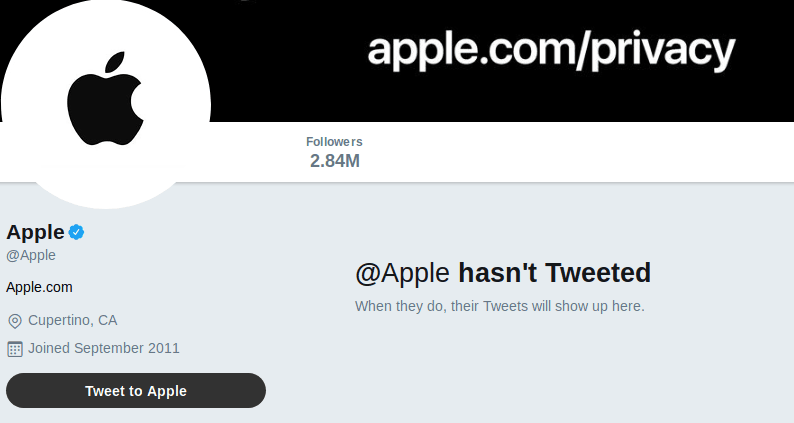 @Apple hasn't Tweeted  When they do, their Tweets will show up here.