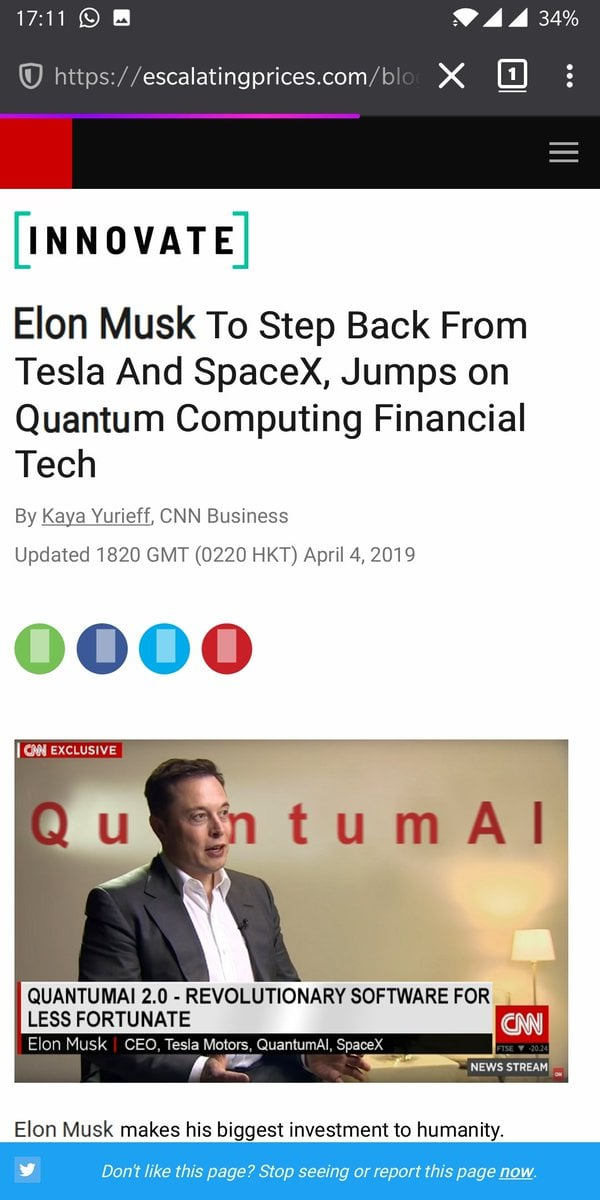 A fake interview with Elon Musk - talking about a Quantum AI stock market system.