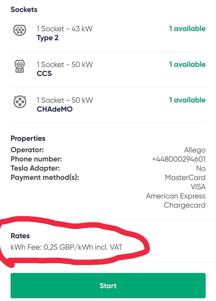 App says 25p per kWh.