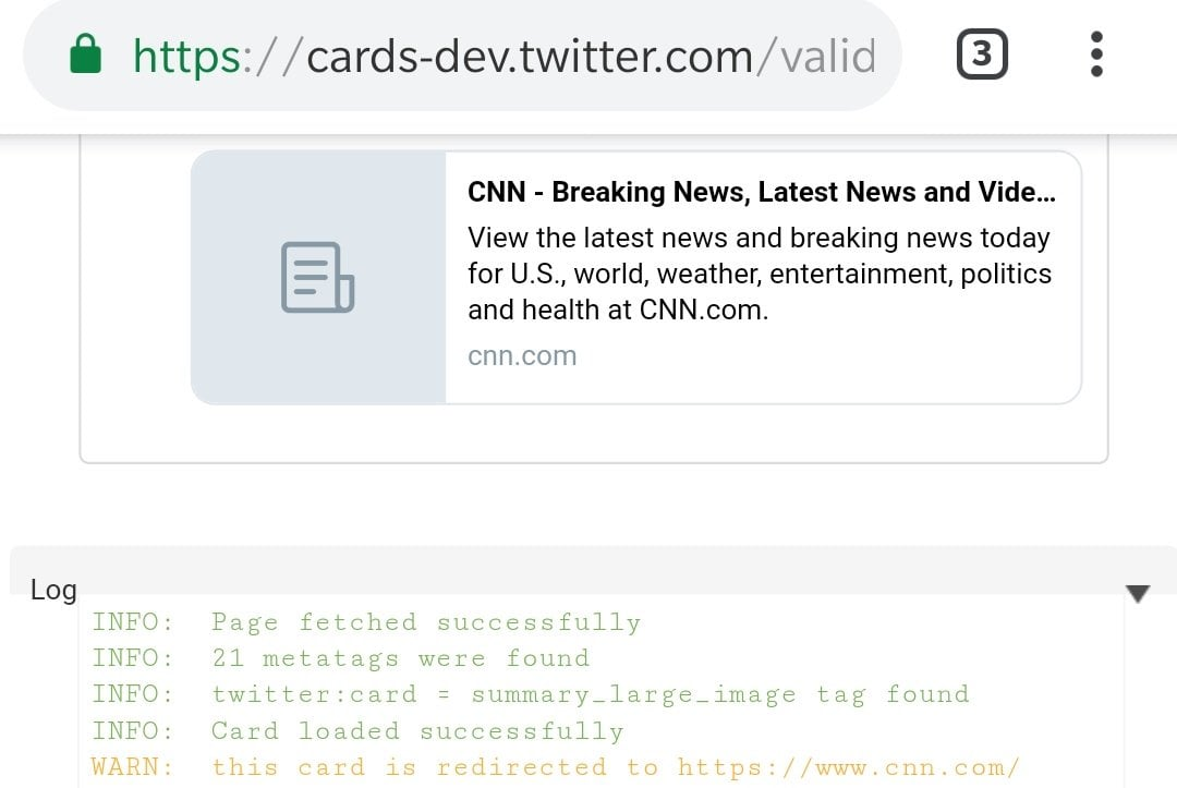 A card validator screen. It shows a redirect to CNN.