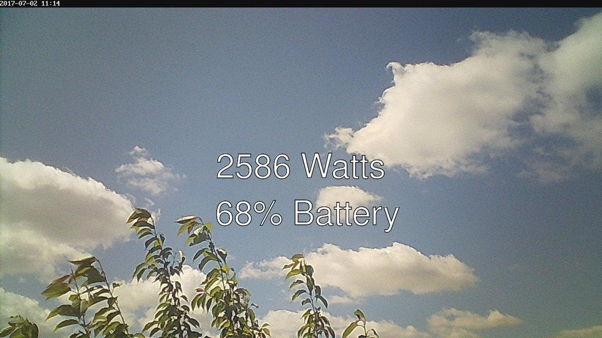 A beautiful blue sky with scattered clouds. Text reads 2586 Watts - 68% battery.