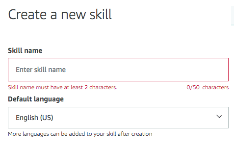 Create a new skill screen.