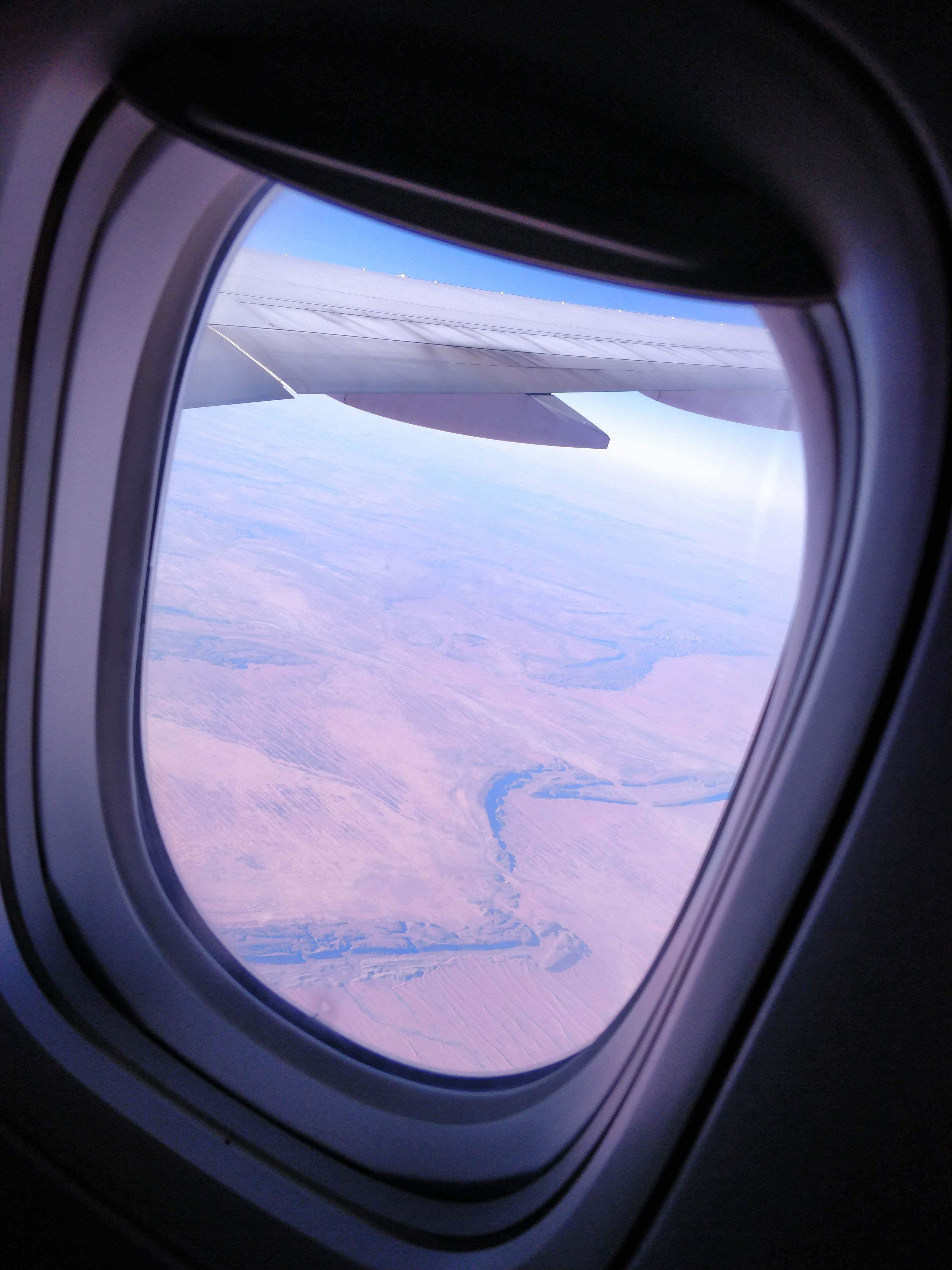 The desert, as seen through a plane window.