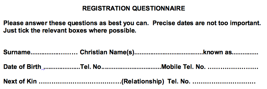 Registration questionnaire asking for a christian name.