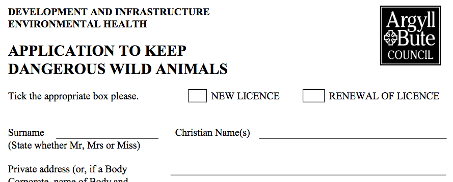Application to keep dangerous wild animals.