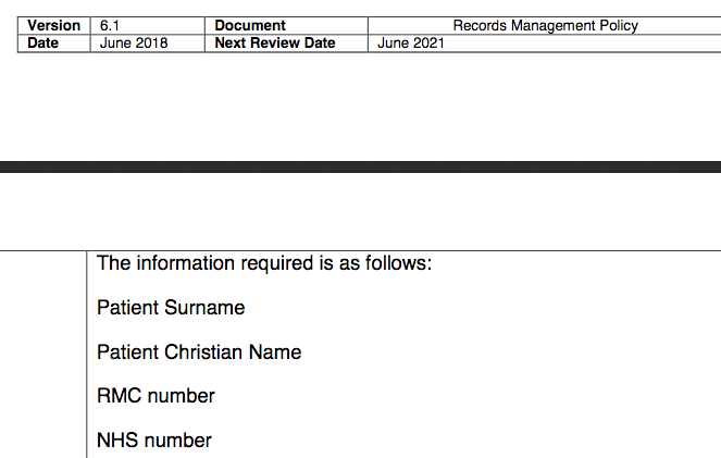 Patient SurnamePatient Christian NameRMC number.