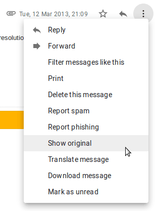 Show Original option in Gmail.