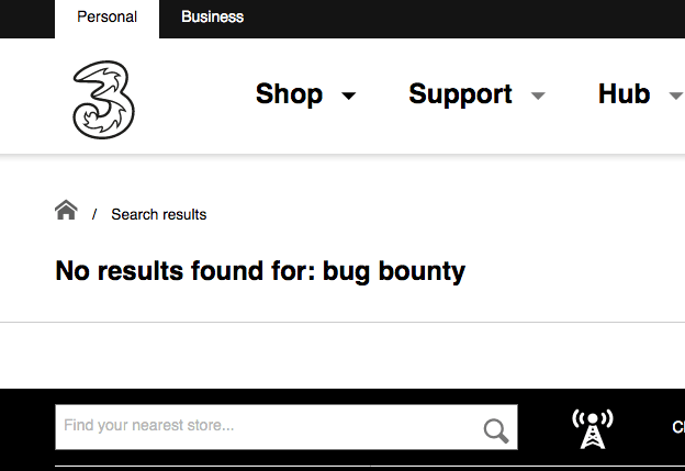 "The website says ""No results found for: bug bounty."""