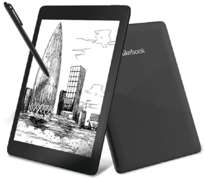 An eReader with a pen.