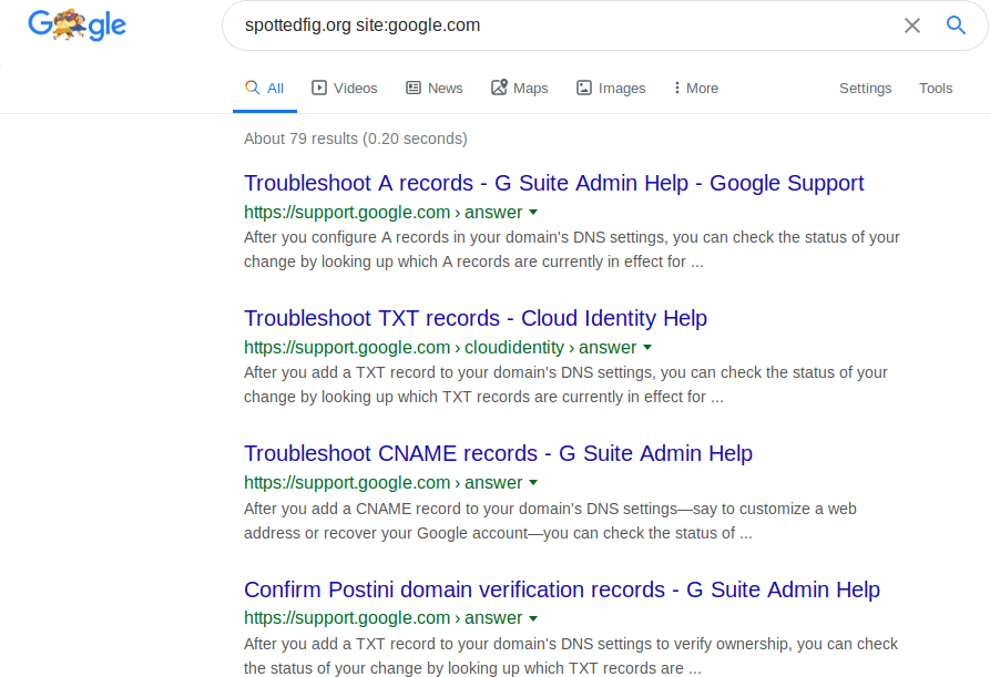 Lots of Google pages with the domain in them.