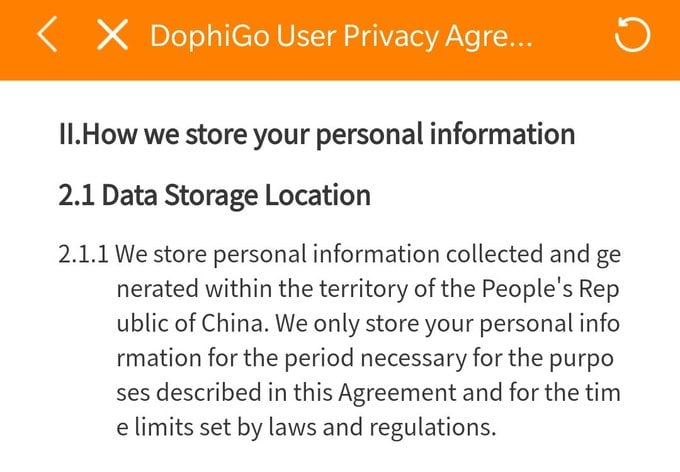 Privacy agreement. All your data belongs to China.