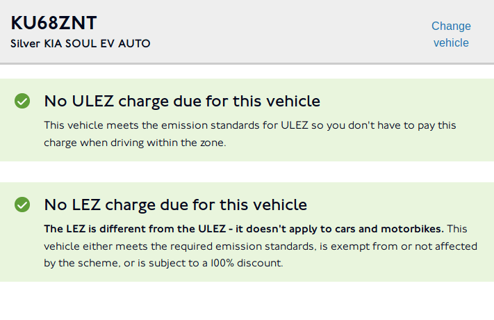 TfL screen saying the vehicle is exempt.