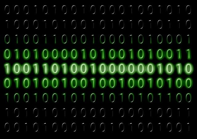 Binary code displayed on a screen.