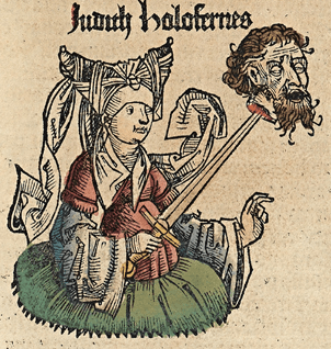 A medieval drawing of a woman holding a sword. A bearded man's head is impaled on it.
