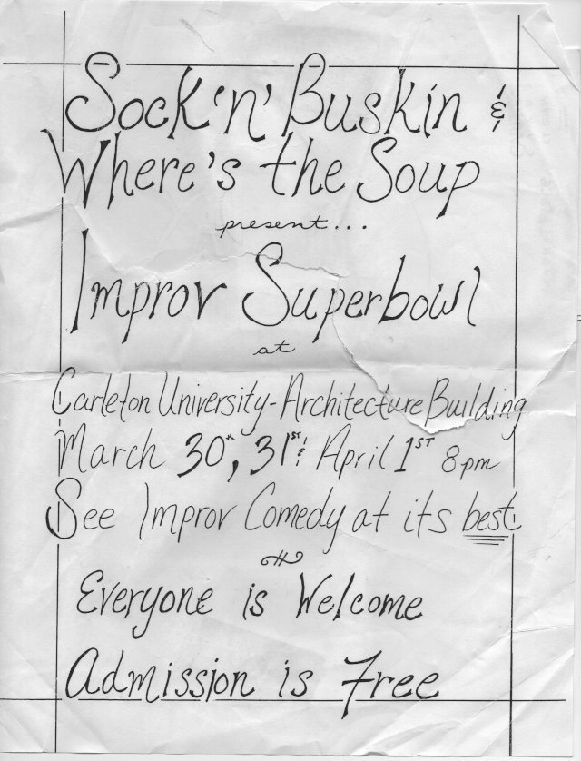 A handwritten poster on crumpled paper.