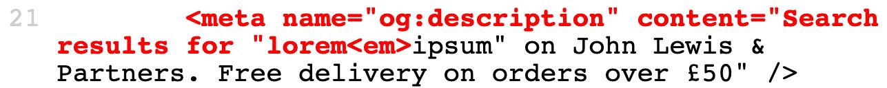 Broken meta element in HTML code.