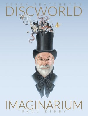 Terry Pratchett wearing a top hat.
