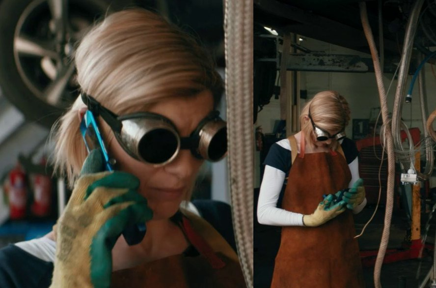The Doctor holding a blue flip phone.