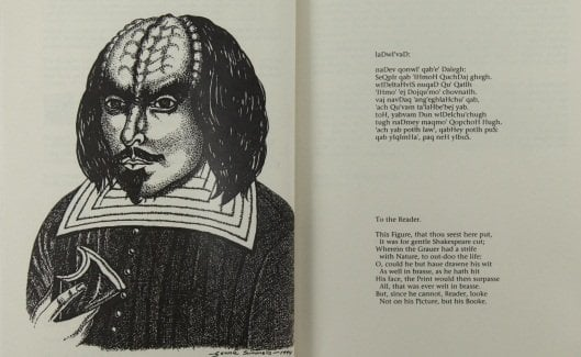 Pencil protrail of William Shakespeare - as though he were a Klingon from Star Trek.