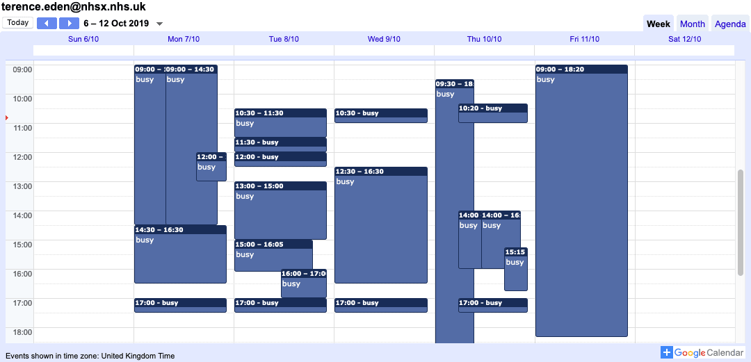 A weekly calendar showing lots of overlapping meetings.