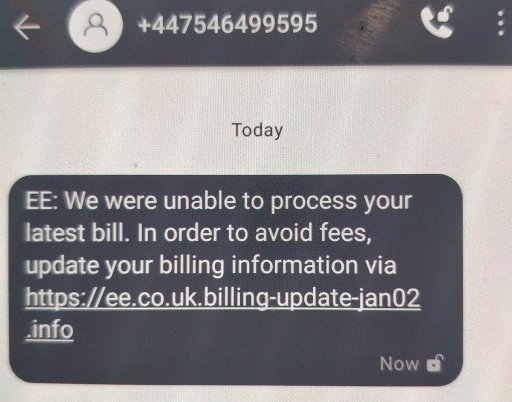 An SMS saying there's a problem with your phone bill.