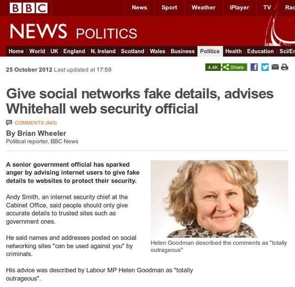 Give social networks fake details, advises Whitehall web security official.