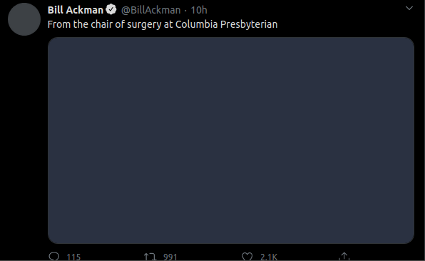 "A tweet which says ""From the chair of surgery at Columpbia Presbyterian."" There is a big blank image afterwards."