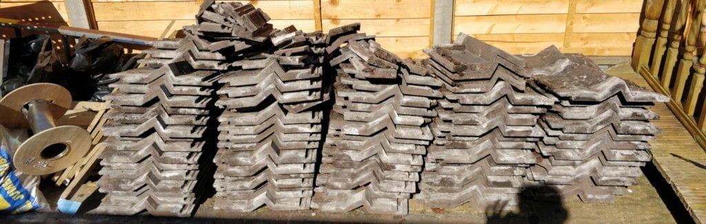 Huge piles of roofing tiles.